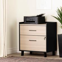 Kozack - 2-Drawer File Cabinet, Soft Elm and Matte Black