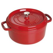 Staub Cast Iron 4-qt round cocotte - cherry - visual imperfections