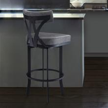 """Natalie Contemporary 26"""" Counter Height Barstool in Black Powder Coated Finish and Vintage Grey Faux Leather"""