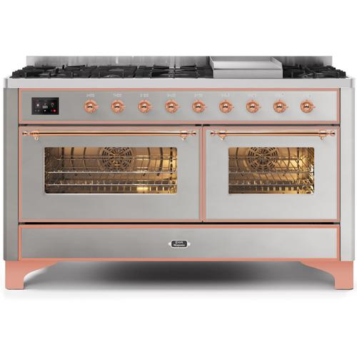 Ilve - Majestic II 60 Inch Dual Fuel Natural Gas Freestanding Range in Stainless Steel with Copper Trim