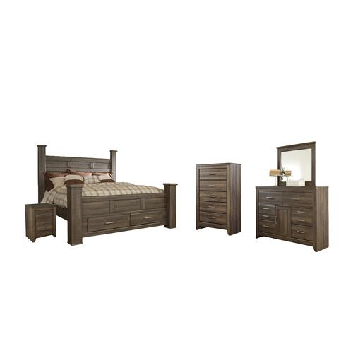 King Poster Bed With 2 Storage Drawers With Mirrored Dresser, Chest and Nightstand