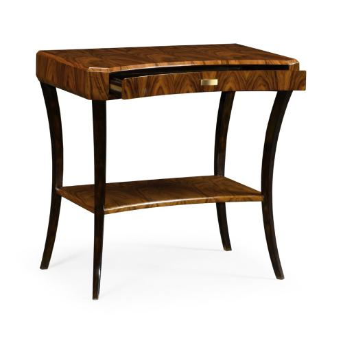 Art Deco Satin Rectangular Side Table with Drawer
