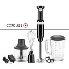 Cordless Variable Speed Hand Blender with Chopper and Whisk Attachment - Onyx Black