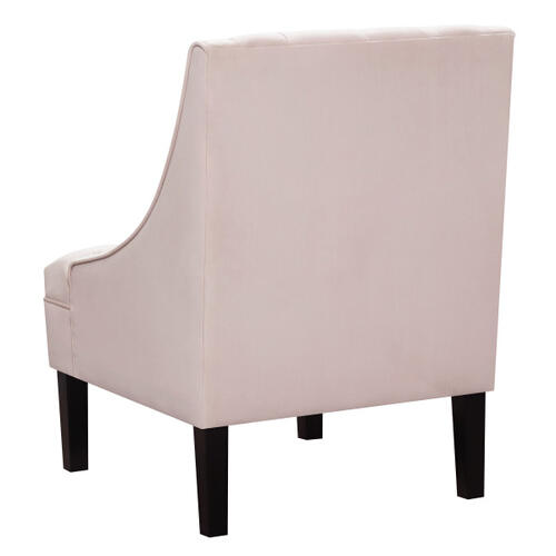 Button Tufted Accent Chair in Blush Pink