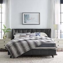 Makenna Queen Performance Velvet Platform Bed in Gray
