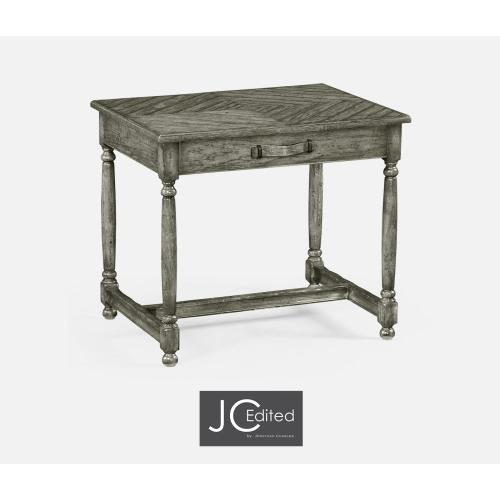 Antique Dark Grey Rectangular Side Table with Contrast Inlay