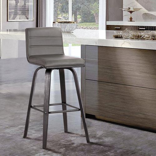 """Vienna 26"""" Counter Height Barstool in Black Brushed Wood Finish with Grey Faux Leather"""