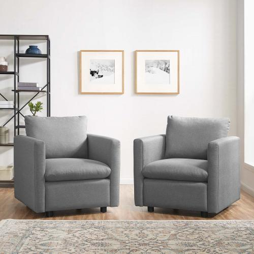 Activate Upholstered Fabric Armchair Set of 2 in Light Gray