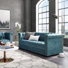 Heritage Performance Velvet Sofa in Sea Blue