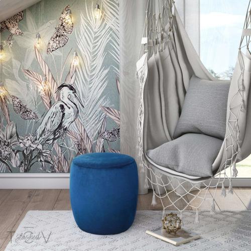Tov Furniture - Willow Navy Velvet Ottoman
