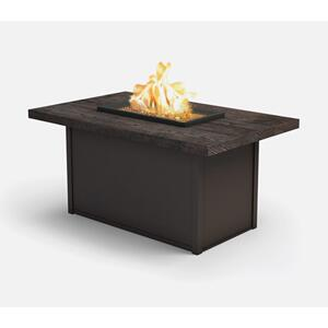 "32"" x 52"" Rectangular Chat Fire Pit Ht: 24.5"" Aurora Aluminum Base (Indicate Top & Frame Color)"