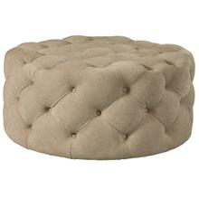 See Details - Round Button Tufted Cocktail Ottoman with Casters in Dudley Burlap