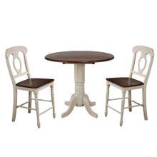 See Details - Round Drop Leaf Pub Table Set w/Napoleon Stools (3 Piece)