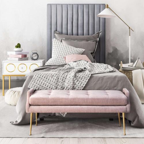 Tov Furniture - Eileen Blush Slub Velvet Bench
