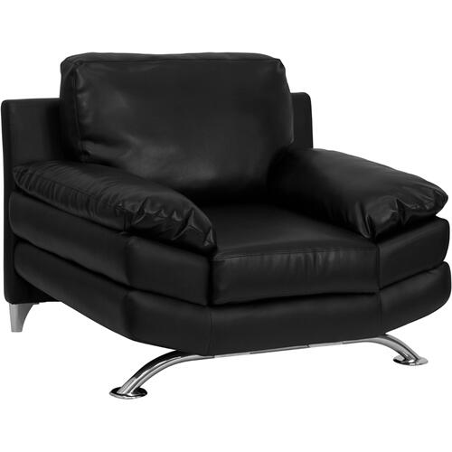 HERCULES Excel Series Plush Black Leather Chair with Curved Feet