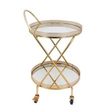 Metal 2 Tier Lattice Bar Cart, Gold - Kd