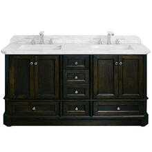 Espresso RICHMOND 60-in Double-Basin Vanity with Carrara Stone Top