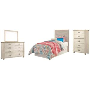 Ashley - Twin Panel Headboard With Mirrored Dresser and Chest