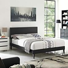 View Product - Macie Queen Vinyl Platform Bed with Squared Tapered Legs in Black