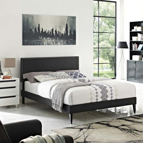 Macie Queen Vinyl Platform Bed with Squared Tapered Legs in Black