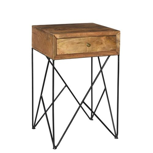 Bengal Manor Light Wood and Metal Accent Table
