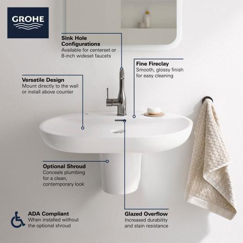 "Product Image - Essence Wall Mount 27"" Bathroom Sink, 1-hole"