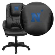 United States Naval Academy Goats Embroidered Black Leather Executive Office Chair