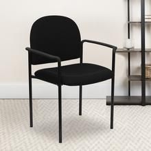 View Product - Comfort Black Fabric Stackable Steel Side Reception Chair with Arms
