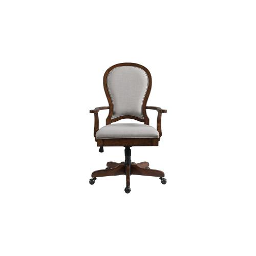 Round Back Uph Desk Chair - Classic Cherry Finish