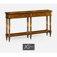 See Details - Country Walnut Parquet Double Console Table