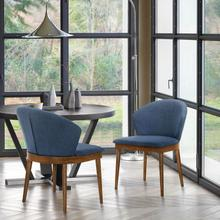 View Product - Juno Blue Fabric and Walnut Wood Dining Side Chairs - Set of 2