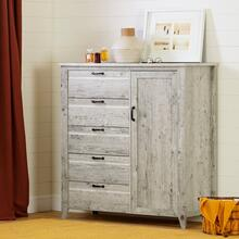Door Chest with 5 Drawers - Seaside Pine