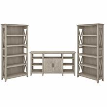 See Details - Tall TV Stand with Set of 2 Bookcases, Washed Gray