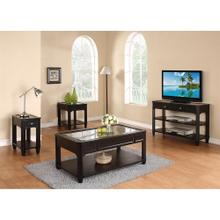 See Details - Farrington - Rectangular Glass Top Coffee Table - Black Forrest Birch Finish