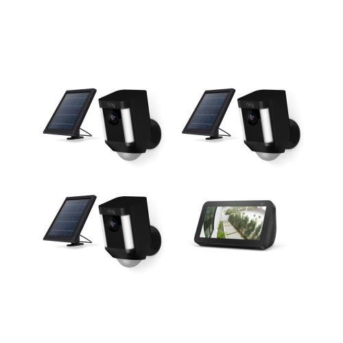 3-Pack Spotlight Cam Solar with Echo Show 5 - Black