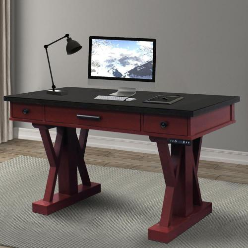 AMERICANA MODERN - CRANBERRY 56 in. Power Lift Desk (from 23 in. to 48.5 in.) (AME#256T and LIFT#200BLK)