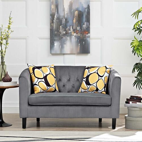 Prospect Performance Velvet Loveseat in Gray