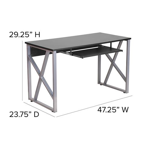 Flash Furniture - Black Computer Desk with Pull-Out Keyboard Tray and Cross-Brace Frame