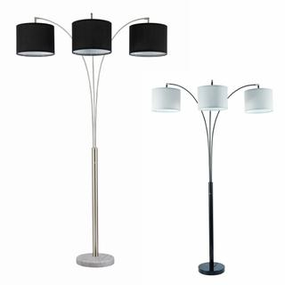 Black Floor Lamp W/white Shade