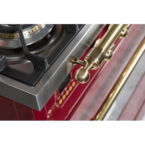 Nostalgie 36 Inch Dual Fuel Liquid Propane Freestanding Range in Burgundy with Brass Trim