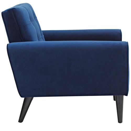 Delve Living Room Set Performance Velvet Set of 3 in Navy