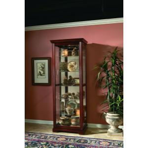 Gallery - Sliding Door 5 Shelf Curio Cabinet in Victorian Brown