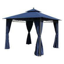 St. Kitts 10-foot Aluminum/ Polyester Double-vented and Drapes Square Gazebo - Dark Grey/Navy Blue