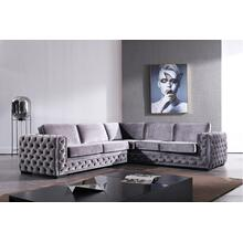 Divani Casa Jean Modern Grey Velvet Sectional Sofa