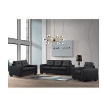 Henley Black with Black Stitch Sofa & Loveseat, SWU9130