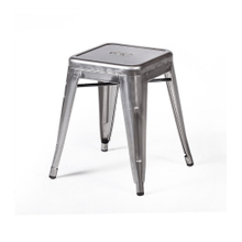 Tolix Style Backless Metal Industrial Stack Metallica Cafe Bar Stool - Reproduction - Gunmetal, Set-of-1