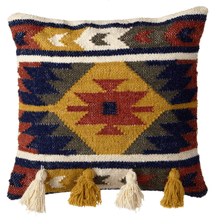 Mustard, Indigo & Terracotta Kilim Pillow with Tassels