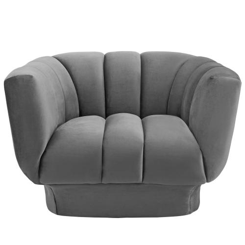 Entertain Vertical Channel Tufted Performance Velvet Armchair in Gray