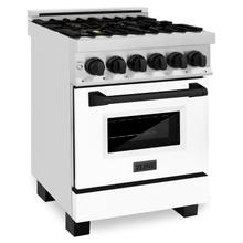 """See Details - ZLINE Autograph Edition 24"""" 2.8 cu. ft. Dual Fuel Range with Gas Stove and Electric Oven in Stainless Steel with White Matte Door and Accents (RAZ-WM-24) [Color: Champagne Bronze]"""