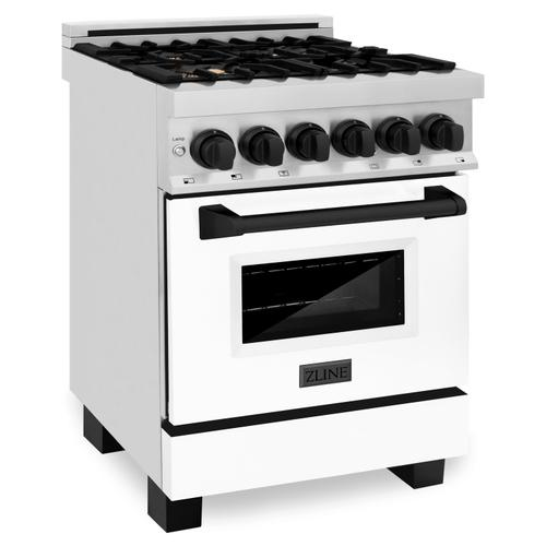 """Zline Kitchen and Bath - ZLINE Autograph Edition 24"""" 2.8 cu. ft. Dual Fuel Range with Gas Stove and Electric Oven in Stainless Steel with White Matte Door and Accents (RAZ-WM-24) [Color: Matte Black]"""